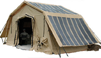 Tacatical shelter with solar panels